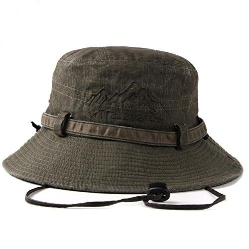 [エターナルリーフ] サファリハット マウンテントラベラーズ アウトドア 帽子 ハット 大きいサイズ つば広 uvカット メッシュ メンズ レディース 折りたたみ ひも付き (オリーブ)