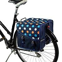 BikyBag Classic S - 自転車用ダブル・パニエ (ブルーポルカドット)