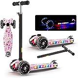 スクーターフラッシュ音楽折りたたみスクーター4つのギア子供のギフトのおもちゃを調整する ( Color : Pink )