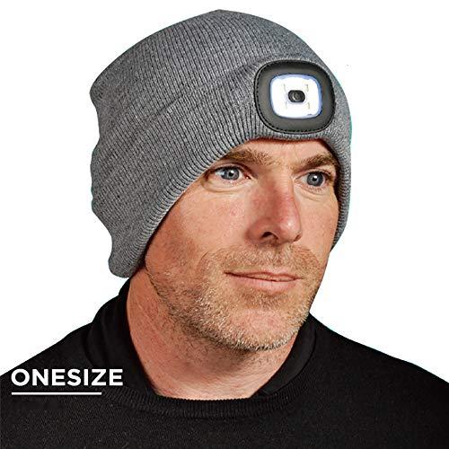 LEDヘッドライト付きニット帽[グレー]防寒 夜間 安全 釣り キャンプ アウトドア ウィンタースポーツ 非常時 キャップ 灰色