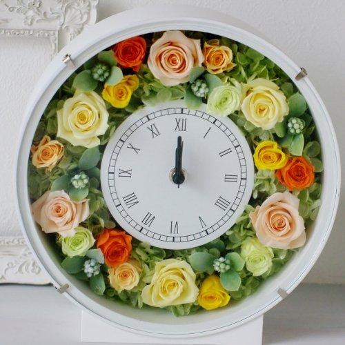 【Eclaire Flower Design】 プリザーブドフラワー 花時計 イエロー/オレンジ