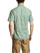Flower Pattern Short Sleeve Butttondown Shirt 1216-163-1783: Kelly