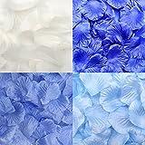 ZERONOWA フラワー フェザー シャワー 1200枚 セット 造花 花びら 羽 ウエディング (花びらブルー フェザー1200枚セット)