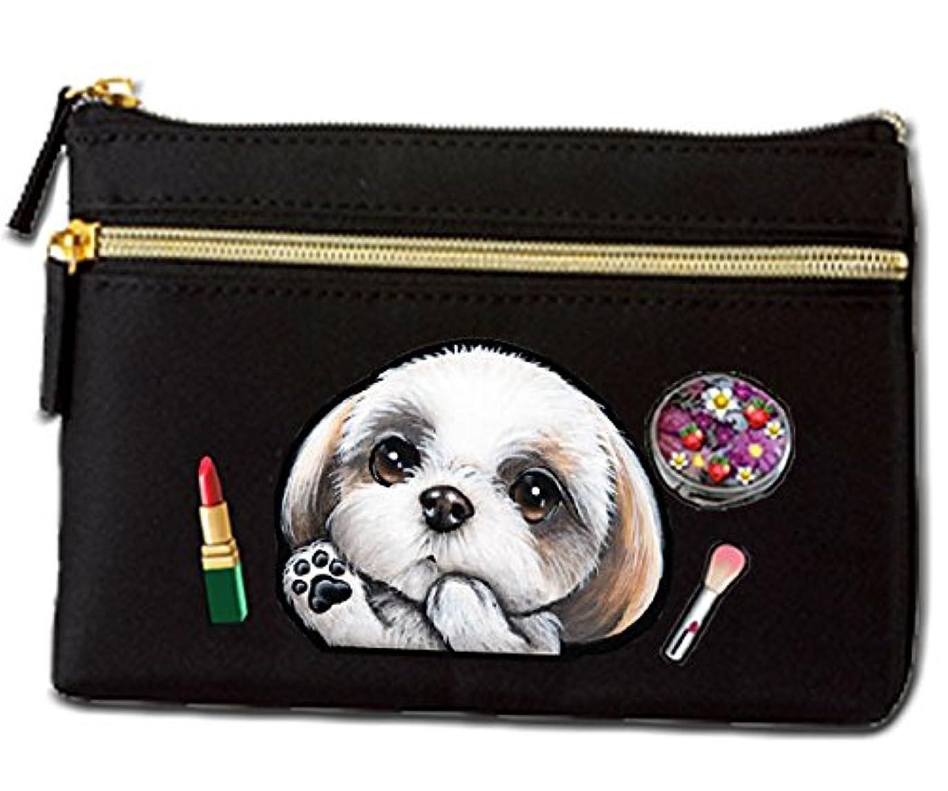 ピクニックをするバラバラにする処方する犬 ポーチ / シーズー36/雑貨/グッズ/オリジナル