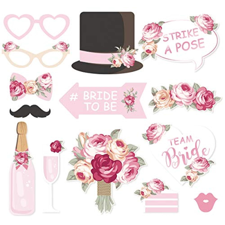 NICROLANDEE ブライダルシャワー 写真ブース小道具 - 14個パック ウェディングブラッシュピンク 帽子と唇のミックス付き 口ひげ ワイングラス 女の子の夜のお出かけ ヘンパーティー 誕生日パーティー用品