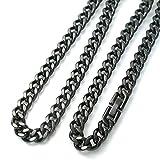 チタン ネックレス 喜平50cm 7.0mm巾 ブラックネックレス (DLC硬化加工) ブラックチタン ネックレス 黒 TITAN ネックレス  50cm 金属アレルギー対応