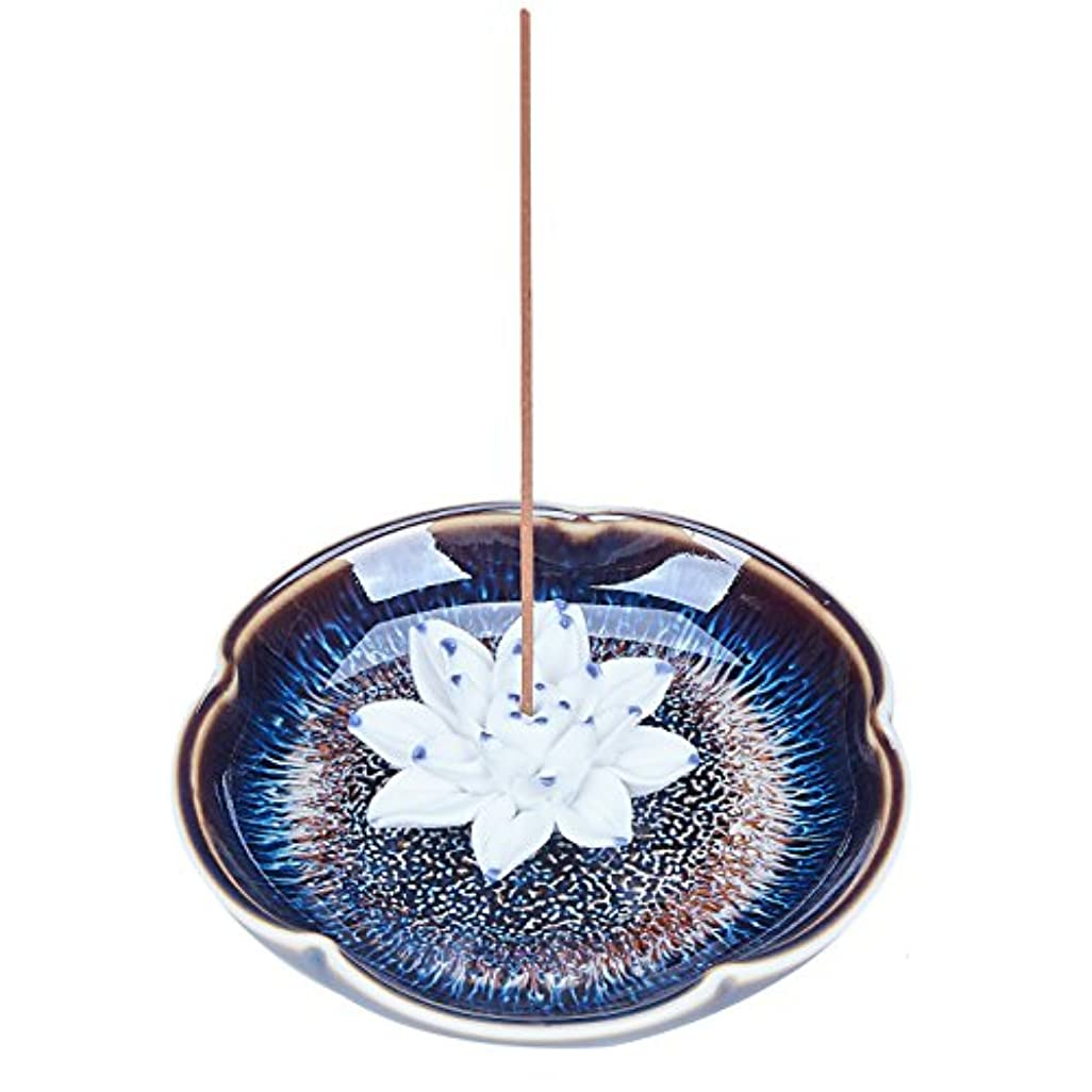 丘引退した札入れUOON Incense Stick Burner Holder - Handmade Ceramic Lotus Flower Incense Burner Bowl Ash Catcher Tray Plate (Lake...