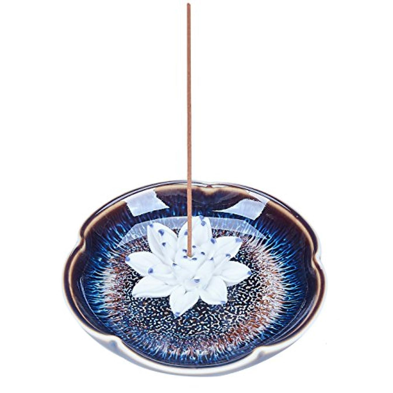 目指すダニ実際のUOON Incense Stick Burner Holder - Handmade Ceramic Lotus Flower Incense Burner Bowl Ash Catcher Tray Plate (Lake...
