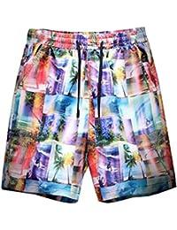 [ヤンーチ] メンズ 海パン サーフパンツ アロハ ハワイ風 ショットパンツ ゴムウェスト プリント ゆったり 通気 速乾 水陸両用 ファッション