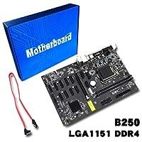 Smartroman マイニングボードB250マイニングエキスパートマザーボードビデオカードインターフェイスは、GTX1050TI 1060TIをサポートしています。 ブラック