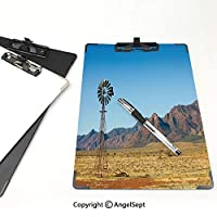 クリップボード A4サイズ対応 レンジップボード 風車の装飾 屋外スケッチポータブルスケッチクリップ (2個)フリンダース山脈南オーストラリア州の山々の不毛の土地の夏の装飾アースイエローライトブルー