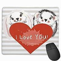 マウスパッド ハリネズミ 恋愛 恋 縞 グレー ゲーミング オフィス最適 おしゃれ 疲労低減 滑り止めゴム底 耐久性が良い 防水 かわいい PC MacBook Pro/DELL/HP/SAMSUNGなどに 光学式対応 高級感プレゼント plesamncgb