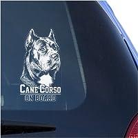Cane Corsoクリアデカールステッカー縦のウィンドウ、Corz MolosserイタリアMastiff Dog Signアートプリント