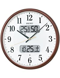 セイコー クロック 掛け時計 電波 アナログ カレンダー 温度 湿度 表示 茶 メタリック KX383B SEIKO