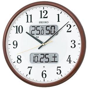 SEIKO CLOCK(セイコークロック) 温湿度計カレンダー表示つき電波アナログ掛時計(茶) KX383B