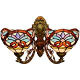 Tiffany Style 2-Arm Wall Lamp Vintage Baroque Design Wall Lights with 8-Inch Stained Glass Shades for Bedroom Living Room Hallway Balcony, E27