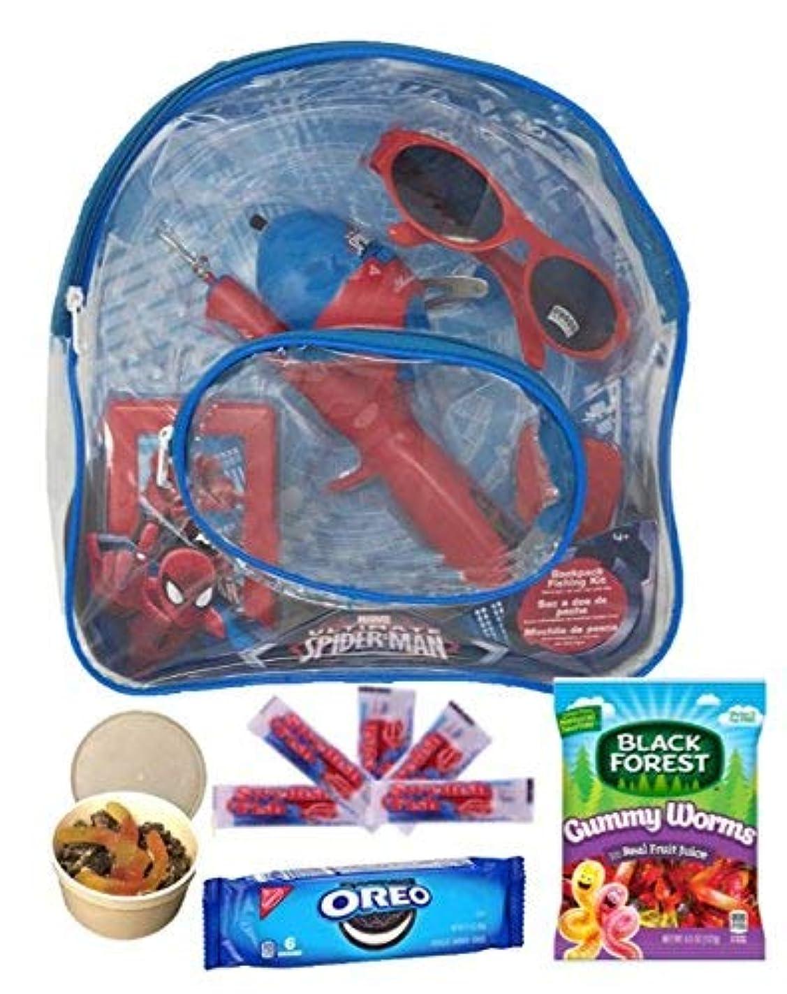 道徳教育狼顎Marvel Spiderman釣りギフトセット。Includesタックルボックスand Fishing Net Plus Swedish Fish , Gummy Worms , Oreos and a fun edibleクラフト。