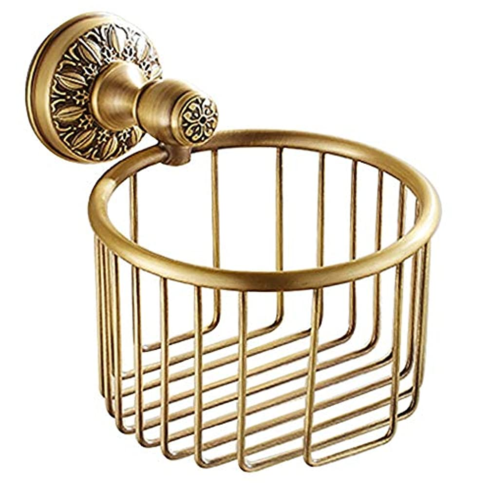 予防接種石建てるZZLX 紙タオルホルダー、ヨーロッパスタイルのフル銅模倣アンティークバスルームトイレットペーパータオルホルダー ロングハンドル風呂ブラシ