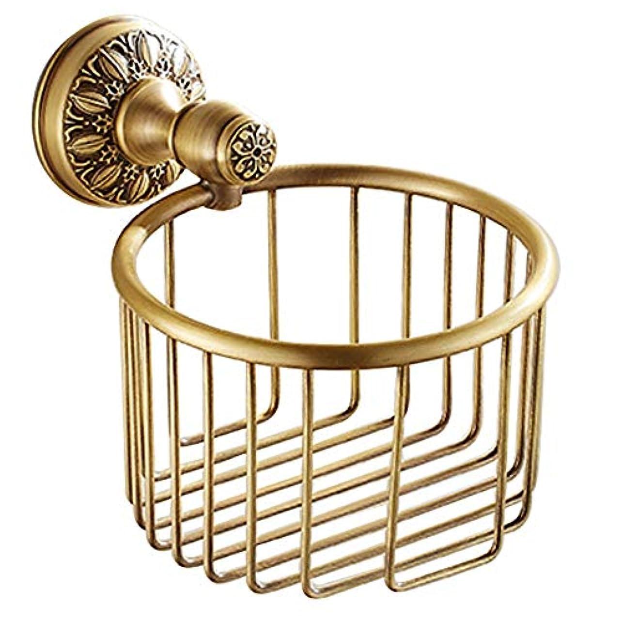 不振ピーブ適応するZZLX 紙タオルホルダー、ヨーロッパスタイルのフル銅模倣アンティークバスルームトイレットペーパータオルホルダー ロングハンドル風呂ブラシ