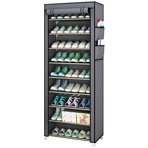 Rerii シューズラック カバー付き 下駄箱 組み立て式 靴収納 ラック シューズボックス スリム 靴収納ボックス 大容量 収納 おしゃれ 安い 靴箱 薄型 靴入れ 玄関収納 10段 幅60×奥行30×高さ160cm (10段)