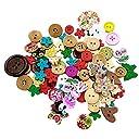 SONONIA 約90pcs カラフル 縫製品 工芸品 詰め合わせ 花柄 動物 木製ボタン 飾りボタン