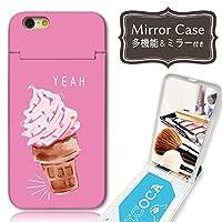 301-sanmaruichi- iPhoneXS ケース iPhoneX ケース ミラーケース 鏡付き ミラー付き カード収納 おしゃれ アイス カラフル ピンク A