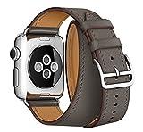 EloBeth Apple Watch バンド ドゥブルトゥール アップルウォッチ用時計バンド 交換ベルト ラグ付 本革 for Apple Watch (38mm, 浅い灰色)