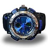 ZooooM コンパス風 デザイン ウォッチ フェイク 文字盤 おもしろ アナログ 腕 時計 ファッション アクセサリー ユニーク カジュアル メンズ 男性 (ブルー) ZM-AUODE-BL