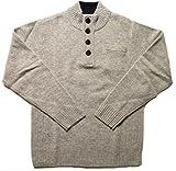 (フェアヴァリュー)FAIRVALUE ヘンリーネック ハイネック プルオーバー ニット セーター  毛100% (M, ライトグレー)
