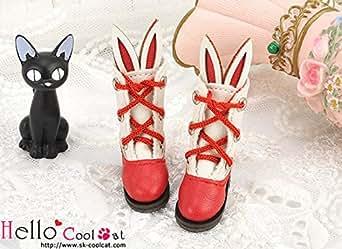 ドール用 coolcat かわいいうさ耳付ブーツ レッド24-5