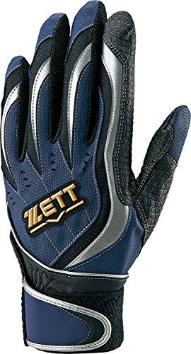 ZETT(ゼット) バッティンググローブ 両手 インパクトゼット BG997 ネイビー/シルバー Mサイズ 野球