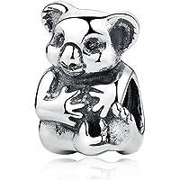 Everbling Mother's Day Australia Animal Kangaroo Mom and Baby Koala Bear 925 Sterling Silver Bead for European Charm Bracelet