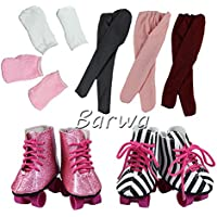Barwa 2 Pairs Ice Skates Boots Shoes with 2 Short Lovely Socks and Handmade Legging (Random Colour) for 46cm American Girl Doll