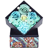 ソープフラワー 枯れない花 フラワー ギフト 誕生日 プレゼント 母の日 ホワイトデー 記念日 敬老の日 など バラ カーネーション 胡蝶蘭 アジサイ の フラワーアレンジメント (ブルー) WEISHY KIZAWA JAPAN SFSQB