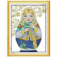 Light-Sh 人形 DIY手作りクロスステッチキット、14CT生地プリント針仕事刺繍キット用ホームオフィスデコレーション(1セット)