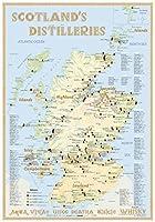 Whisky Distilleries Scotland - Tasting Map 24x34cm: The Whiskylandscape in Overview - Massstab 1:1.750.000