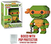 Funko 8-Bit Pop Teenage Mutant Ninja Turtles - Michelangelo Vinyl Figure (Bundled with Pop BOX PROTECTOR CASE)