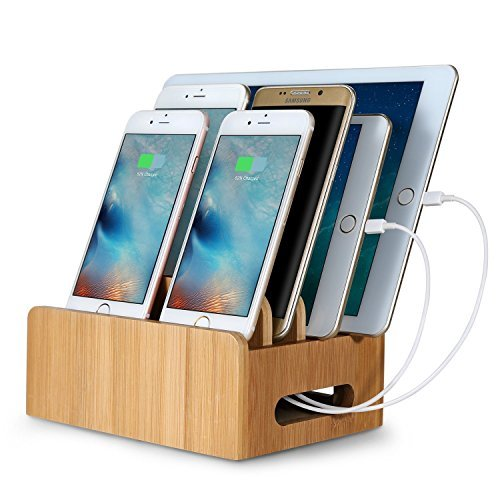 HomeXin 充電スタンド 充電ステーション 6ポート 同時充電 スマホ充電 竹製 収納ボックス 竹製 木目調 スマホ / タブレット / iPhone / iPad / iPod / Android / Type C 対応