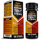 LIVEFIT 100x Ketone Strips, Urine Analysis for Ketogenic, Atkins, LCHF, Paleo, Diabetics, Diet Monitor Weight Loss Tracking Test Strips