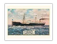 S・ウィルヘルミナ - サンフランシスコからホノルルへの週刊セーリング - マトソンナビゲーション - ビンテージなハワイアンカラーのハガキ c.1917 - アートポスター - 51cm x 66cm