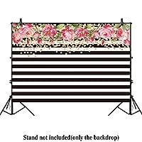 allenjoy 7x 5ft写真背景幕ブラックとホワイトストライプ水彩ピンク花バナー誕生日パーティーウェディングブライダルシャワーDerocationフォトスタジオブース背景Photocall
