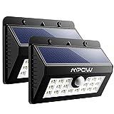 Mpow 20 LED センサーライト ソーラーライト 玄関ライト 外燈 門扉用ライト アウトドアライト センサー搭載 太陽発電 省エネ 夜間自動点灯 軒先/庭/ガーデン/庭先/玄関周りなどの照明用 防犯用(二点セット)