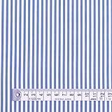 超長綿先染ブロードロンスト・白×水色ストライプ太 50先染ブロード生地 ハンドメイド 手作り用生地 0.5m単位でご注文いただけます。 T00B5600
