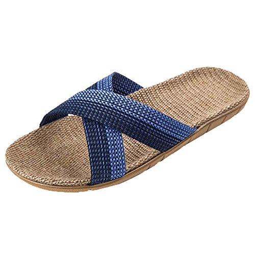 (アーバン ココ)[Urban CoCo]ルームシューズ ベーシック 来客用 部屋用 履きやすく 室内 静音で軽量 麻 夏春スリッパ X型 (XL, ブルー)