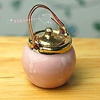 Bobominiworld Porcelain Soup Pot Dollhouse Miniatures Decoration 1:12 Scale Height 2.8cm Blue