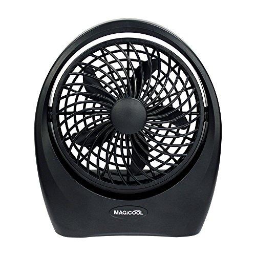 パワフル小型扇風機(軽量)【乾電池・ACアダプタ使用可能】特許取得特殊ブレード 省電力 風量2段階・角度調節可能 マイファンポータブル5インチ