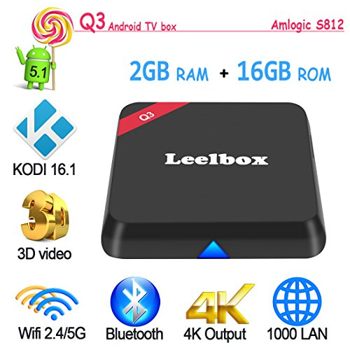 Leelbox Q3 Android TV Box Amlogic S812 Octo Core Gpu Android 5.1 KODI 16.1 2GB /16GB Dual Wifi 5G/2.4G bluetooth 4.0 1000M LAN スマートメディアプレーヤー [並行輸入品]
