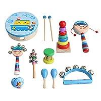 Yibuy 10個セット 多色 木製 子供 打楽器 キット バッグ付き ミュージカル ゲーム 幼児 パーカッション バッグ付き 教育楽器 男の子のセット