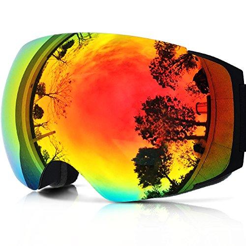 ZIONOR Lagopus X4 ゴーグル スノーボード スキー ダブルレンズ クイックチェンジマグネットレンズ 全面 UVカット (メンズ/レディース兼用) アンチフォグ 球面レンズ スケート スキー ゴーグル
