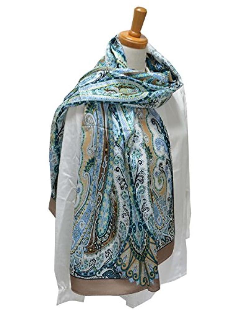 水星貫通する魅力的であることへのアピール秋冬ロングスカーフ ストール マフラー 大判 シルク/ウールミックス ペイズリー 624